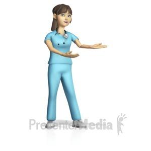 ID# 15407 - Female Nurse Presenting Gesture - Presentation Clipart