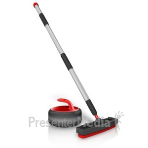ID# 15456 - Curling Stick And Stone - Presentation Clipart