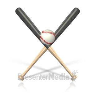 ID# 15480 - Baseball Bat Ball - Presentation Clipart
