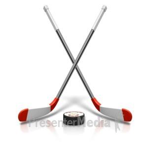 ID# 15481 - Ice Hockey Sticks Puck - Presentation Clipart