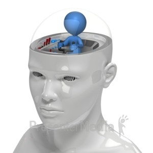 ID# 15506 - Figure In Control Of Mind - Presentation Clipart