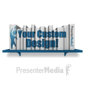 ID# 15531 - Bookshelf Books Custom - Presentation Clipart