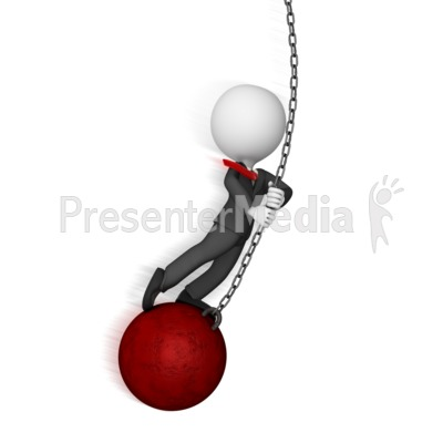 Business Figure Swings on Wrecking Ball PowerPoint Clip Art