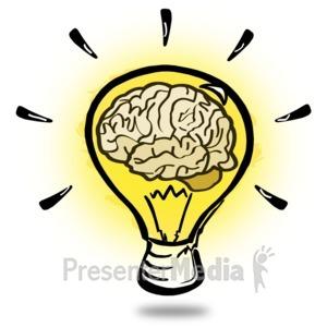 ID# 15611 - Brainy Light Bulb - Presentation Clipart