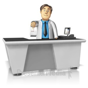 ID# 15620 - Pharmacist Handing Over Medication - Presentation Clipart