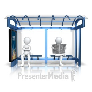 ID# 15643 - Figures Bus Stop - Presentation Clipart