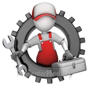 ID# 15683 - Maintenance Figure In Gear - Presentation Clipart