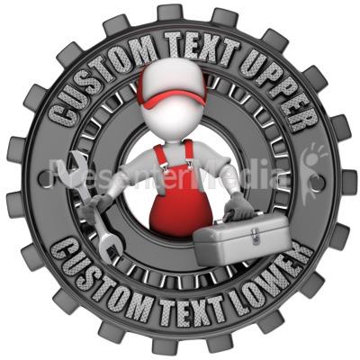 Maintenance Figure Custom Gear Ring PowerPoint Clip Art