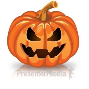 ID# 15751 - Single Scary Pumpkin - Presentation Clipart