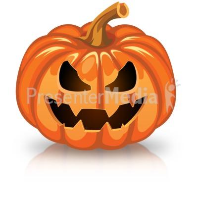 Single Scary Pumpkin PowerPoint Clip Art