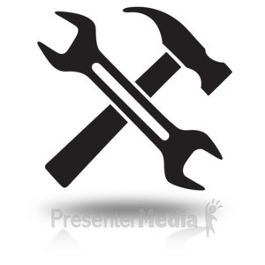 ID# 15780 - Construction Tools Cross Icon - Presentation Clipart