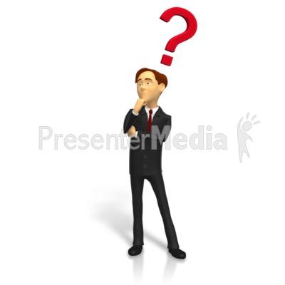 Businessman Posing Question PowerPoint Clip Art