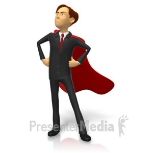 ID# 15806 - Businessman Superhero Pose - Presentation Clipart