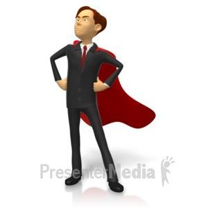 ID# 15806 - Businessman Superhero Pose - Presentation Clipart