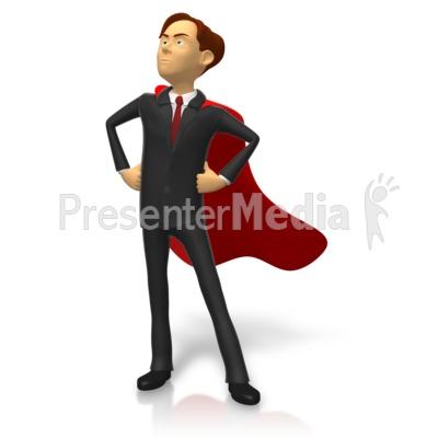 Businessman Superhero Pose PowerPoint Clip Art
