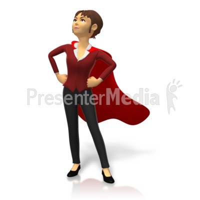Businesswoman Superhero Pose PowerPoint Clip Art