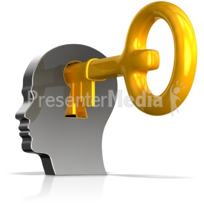 Keyhole In Head With Key PowerPoint Clip Art