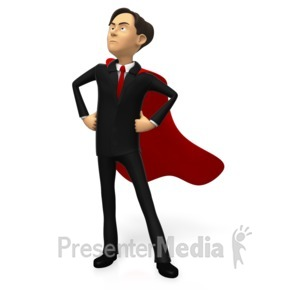 ID# 15866 - Businessman Superhero Pose Custom - Presentation Clipart