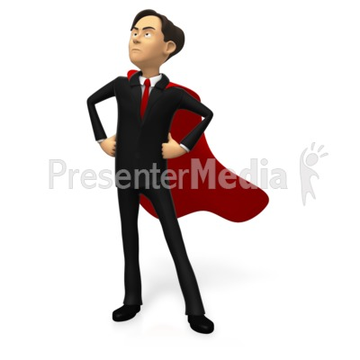 Businessman Superhero Pose Custom Presentation clipart