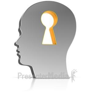 ID# 15867 - Keyhole In Head - Presentation Clipart