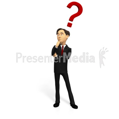 Business Man Pondering Question Presentation clipart