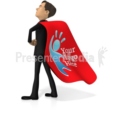 Businessman Superhero Custom Cape Presentation clipart