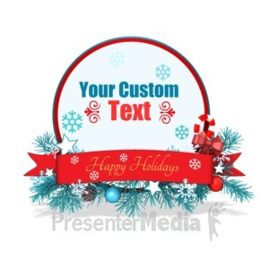 ID# 15958 - Custom Festive Christmas Circle Banner - Presentation Clipart
