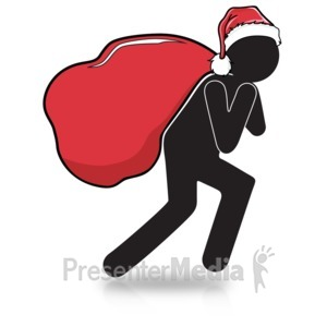 ID# 15980 - Figure Carry Christmas Presents - Presentation Clipart