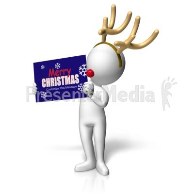 Reindeer Figure Holding Custom Sign Presentation clipart