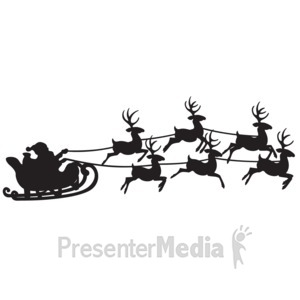 ID# 16094 - Santas Reindeer Sleigh Ride - Presentation Clipart