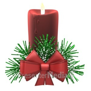 ID# 16101 - Christmas Candle Cozy Snow - Presentation Clipart