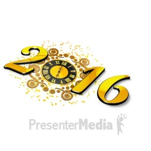 ID# 16103 - New Years Elegant Clock - Presentation Clipart