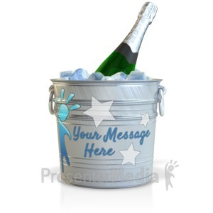 ID# 16111 - Champagne In A Custom Bucket - Presentation Clipart