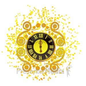 ID# 16113 - New Years Elegant Clock - Presentation Clipart