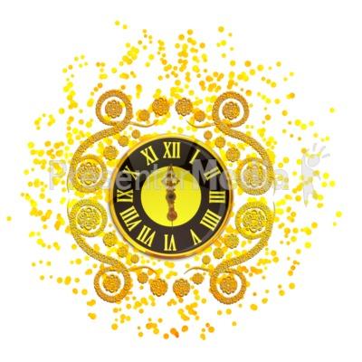 New Years Elegant Clock PowerPoint Clip Art