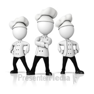 ID# 16151 - Chef Team Standing Strong - Presentation Clipart