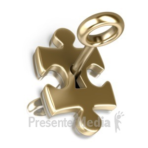 ID# 16184 - Gold Puzzle Piece Insert Key - Presentation Clipart