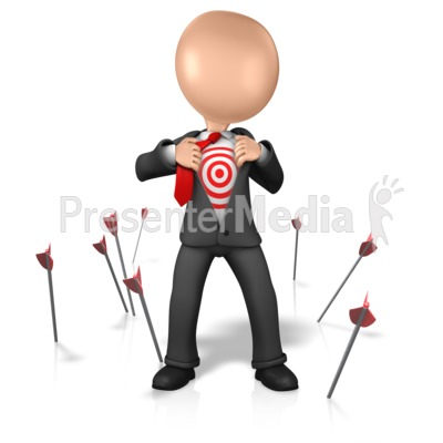 Figure With Target On Chest PowerPoint Clip Art