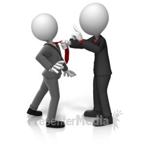 ID# 16216 - Grabbing Worker By Tie - Presentation Clipart