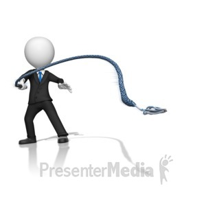ID# 16217 - Boss Figure Using a Whip - Presentation Clipart