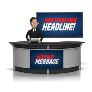 ID# 16268 - Male News Caster in front of Screen - Presentation Clipart