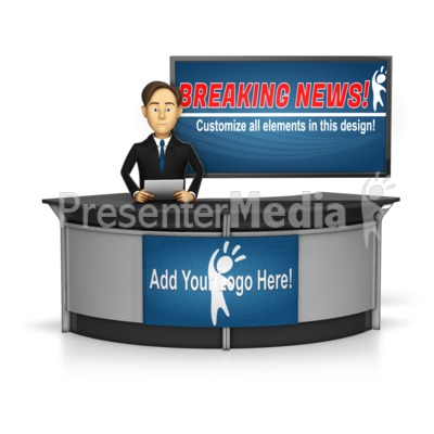 Male News Caster in front of Screen Presentation clipart