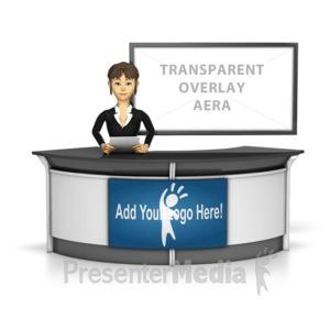 ID# 16278 - Female News Caster Infront Of Transparen - Presentation Clipart