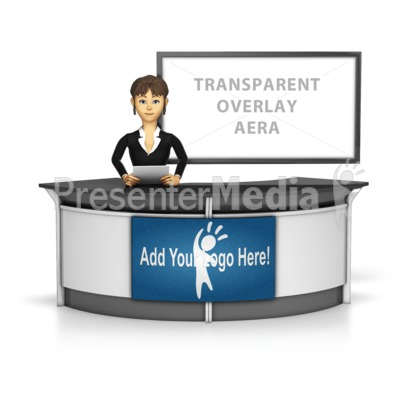 Female News Caster Infront Of Transparen Presentation clipart