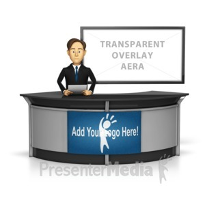 ID# 16279 - Male Anchor with Transparent Screen Behi - Presentation Clipart