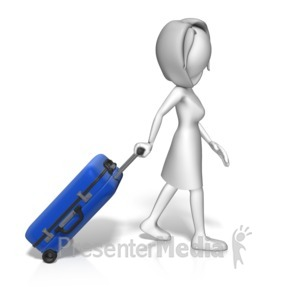 ID# 16306 - Single Woman Roll Luggage - Presentation Clipart