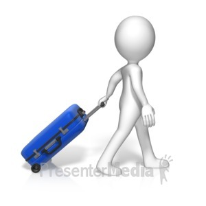 ID# 16307 - Single Figure Roll Luggage - Presentation Clipart