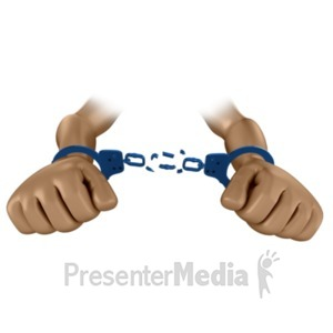 ID# 16328 - Hands Break Chains of Handcuffs - Presentation Clipart