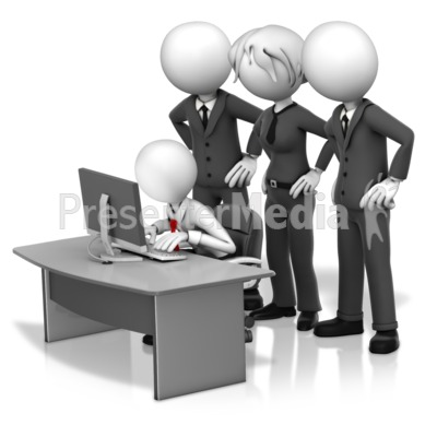 Big Bosses Hovering Over Employee PowerPoint Clip Art