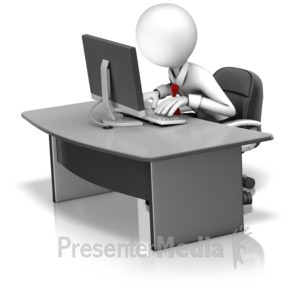 ID# 16351 - Employee Fixated On Computer Screen - Presentation Clipart